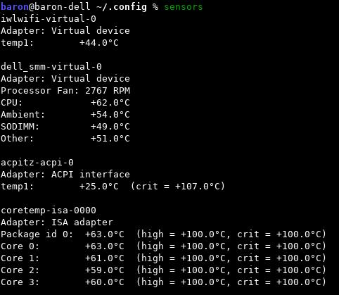 Скриншот с температурой