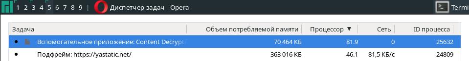 Скриншот с Opera@Linux